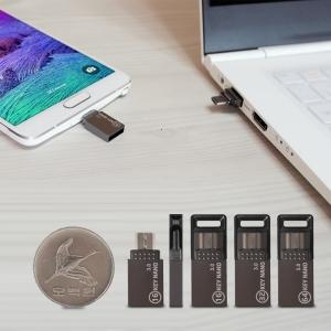 OKEY오키 나노 OTG USB3.0 메모리 16GB-초소형미니,마이크로,메탈아연합금,스마트폰 OTG/오티지/스트랩2종 증정