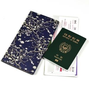 여권지갑 아몬드블라썸-네이비(아트패턴, 케이스, 장지갑)
