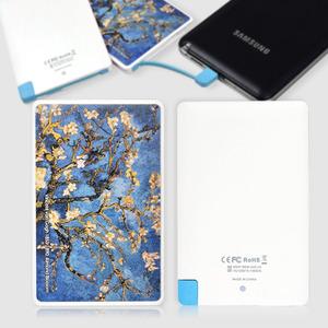 스마트폰 보조배터리, 휴대용충전기, 외장배터리, 전자담배충전, 카드형 오키 SB-2500 고흐 아몬드나무